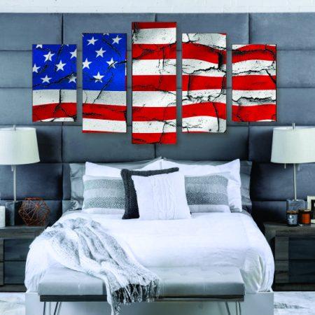 Cracked American Flag Canvas Print
