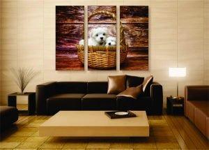 Puppies in a Basket Canvas Print - 3 Piece