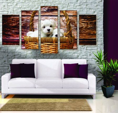 Puppies in a Basket Canvas Print