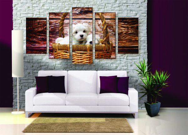 Puppies in a Basket Canvas Print - 5 Piece