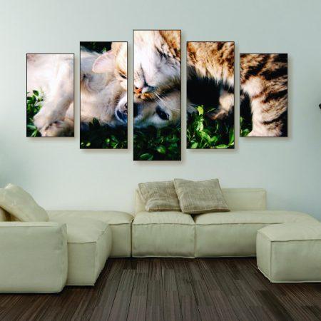 Cuddling Cat & Dog Canvas Print