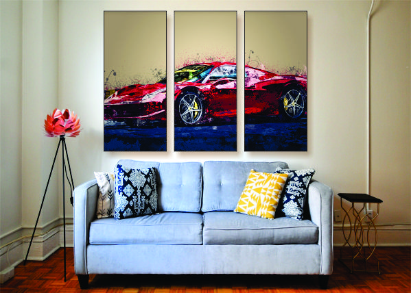 Abstract Ferrari F488 Canvas Print - 3 Piece