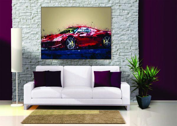 Abstract Ferrari F488 Canvas Print - 1 Piece