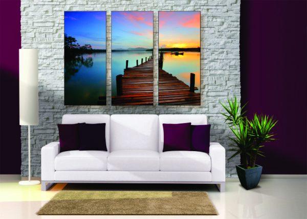 Sunset Lake Canvas Print - 3 Piece