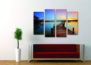 Sunset Lake Canvas Print - 4 Piece