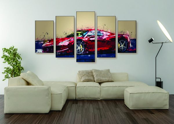 Abstract Ferrari F488 Canvas Print - 5 Piece