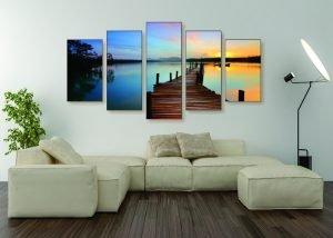 Sunset Lake Canvas Print - 5 Piece